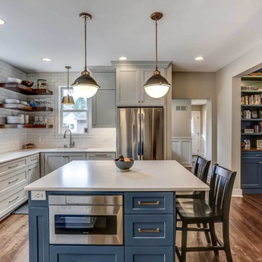 Updated Kitchen Island with Built-in Microwave