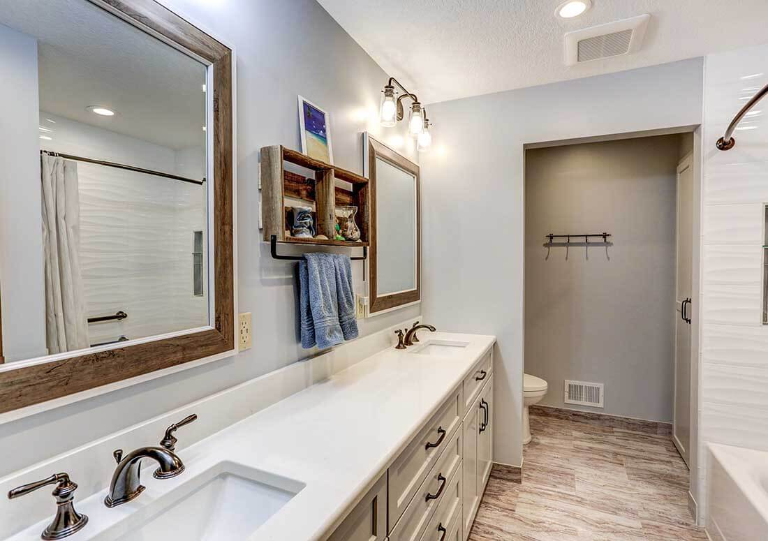 Bathroom renovation with new double-sink vanity