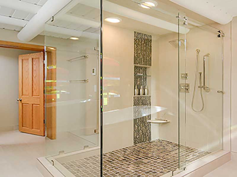 Master bath remodel features new tile